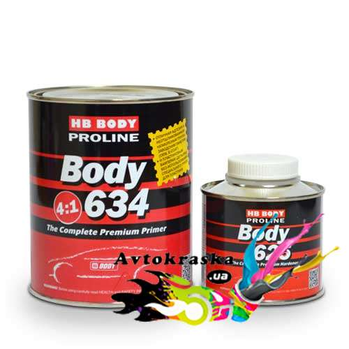 Грунт акриловый Body 634 Proline 0,8л+0,2л черный