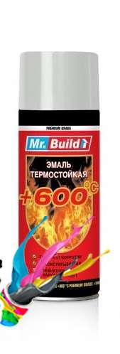 Термостойкая краска в баллончике серебристая Mr.Build 400 мл