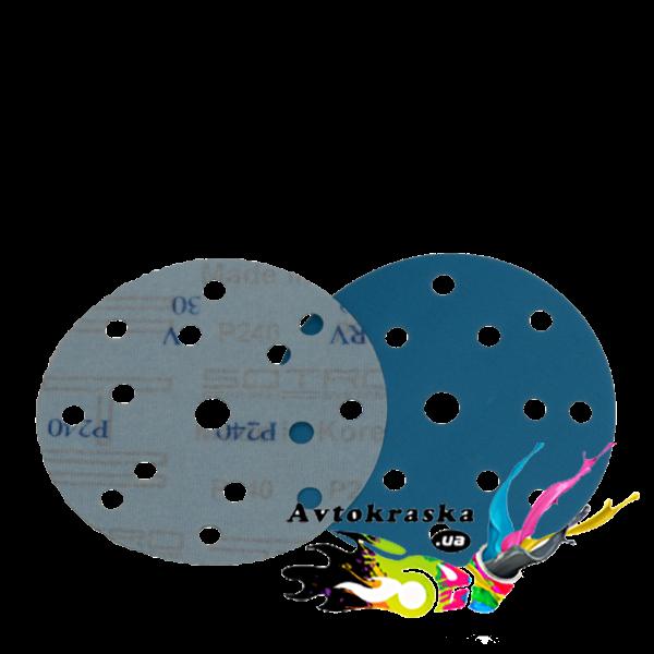 Круг шлифовальный SOTRO FILM Extrim на основе пленки 15 отверстий D150 голубой P60